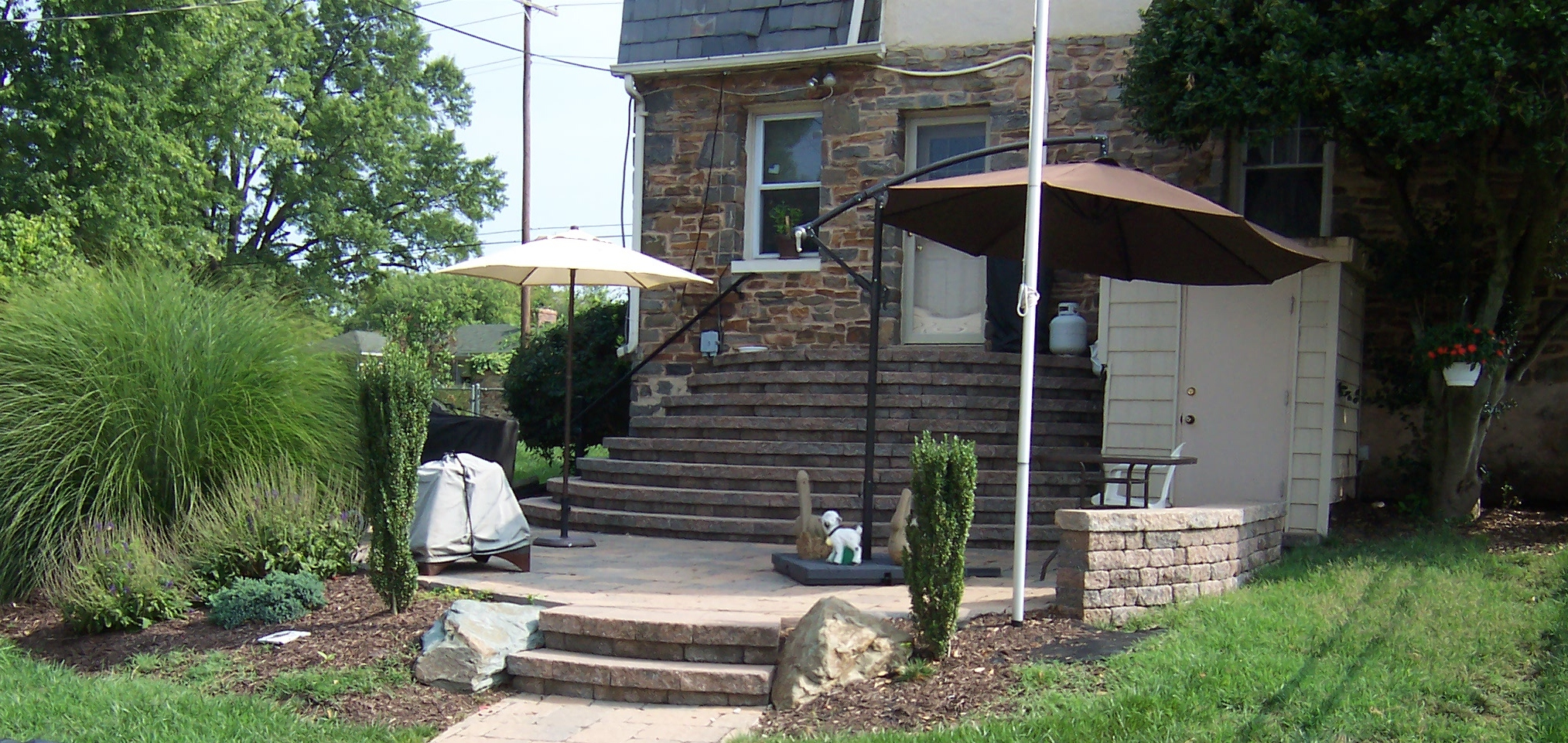Half circle steps with patio